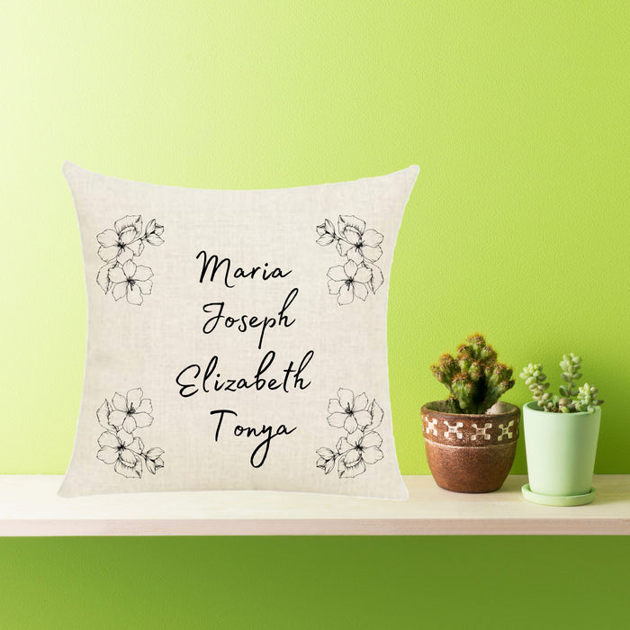 Personalized Minimalistic (Flowery) Throw Pillow, Family Names Throw Pillow Covers, 18 x 18 Pillow