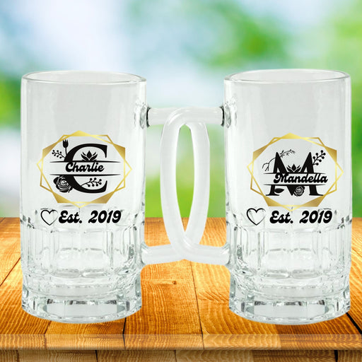 Monogrammed 2 Pc. Set Beer Steins for Couples