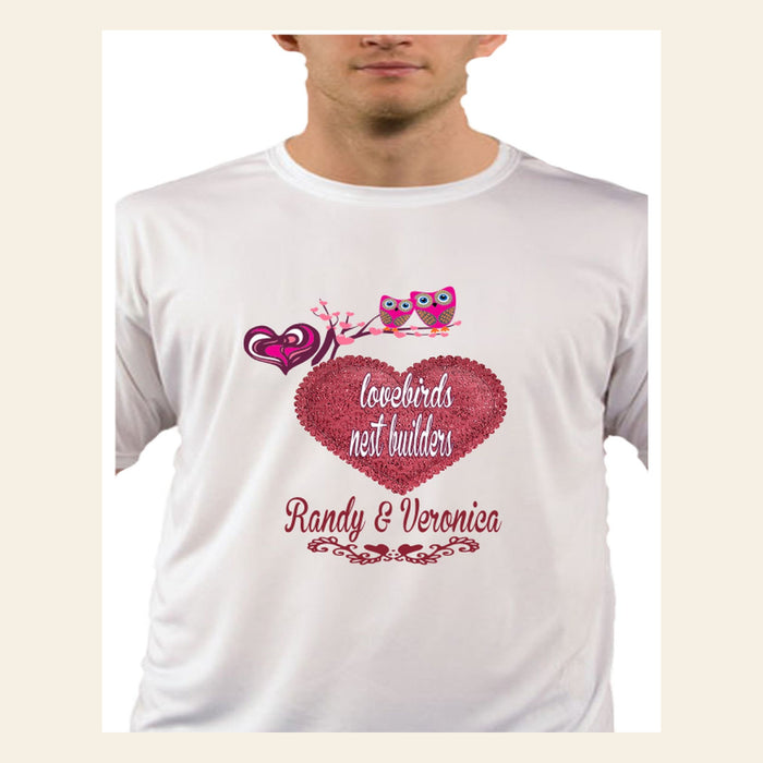 "Personalized His and Her ""Lovebirds, Nest Builders"" Customized T-Shirts"