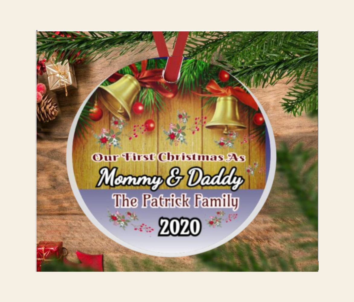 "Personalized ""First Christmas as Mommy & Daddy"" Porcelain Ornament Gift"