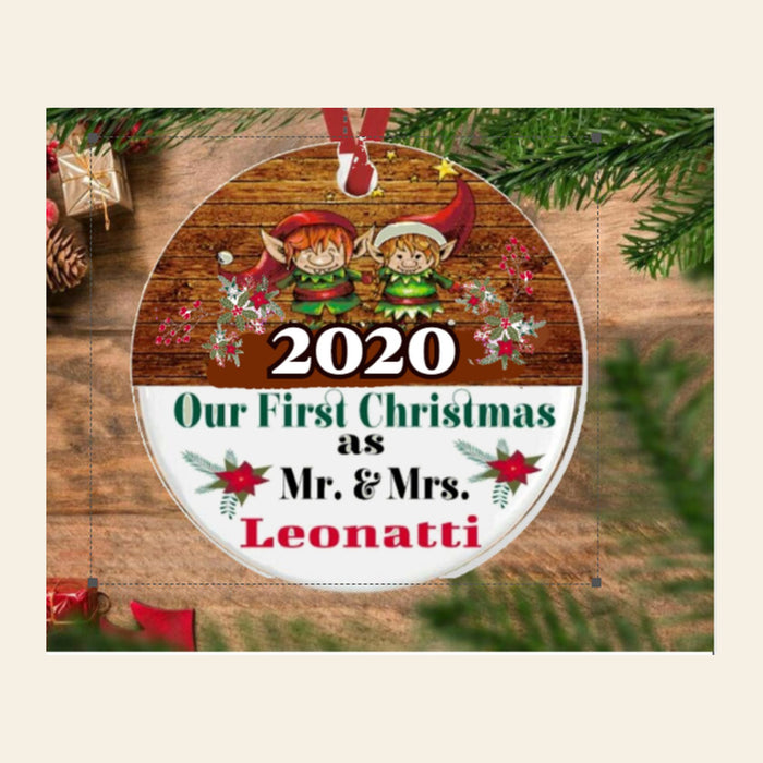 "Personalized ""Our First Christmas As Mr. & Mrs.  (Name)"" Porcelain Ornament"