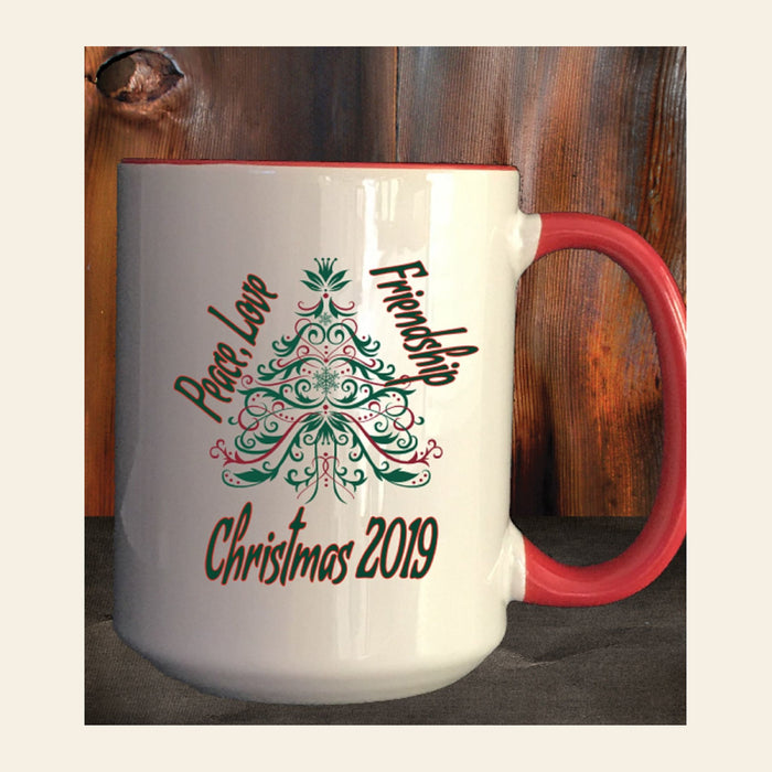 "Personalized ""Peace, Love, Friendship"" Christmas Coffee Mug Gifts Personalized"