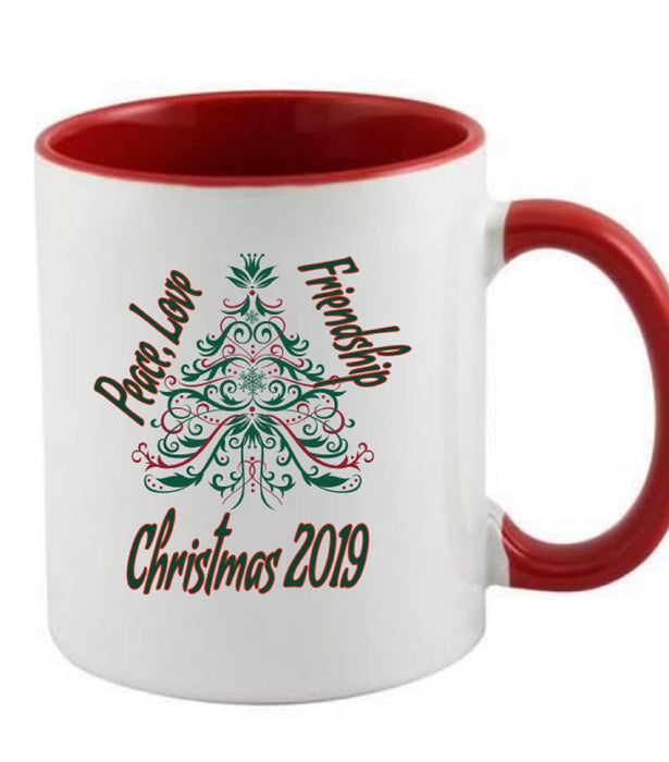 Red Handle and Interior Christmas Mug
