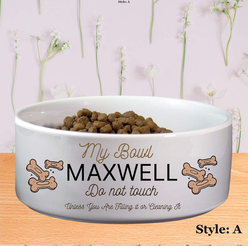 "Personalized ""Do Not Touch"" Dog Bowl"