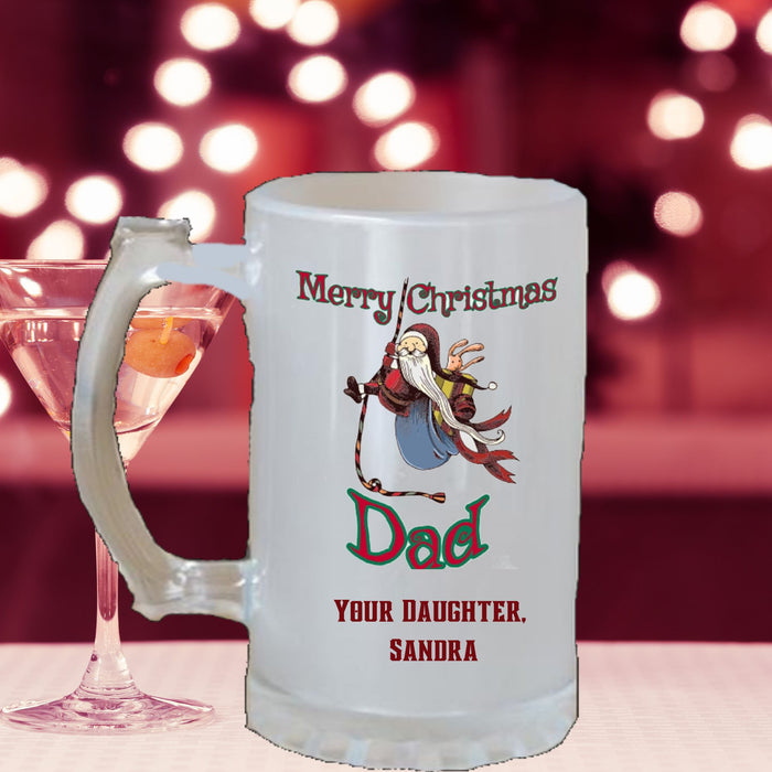 "Personalized ""Merry Christmas [Dad, Brother, Name]"" Frosted Beer Stein"