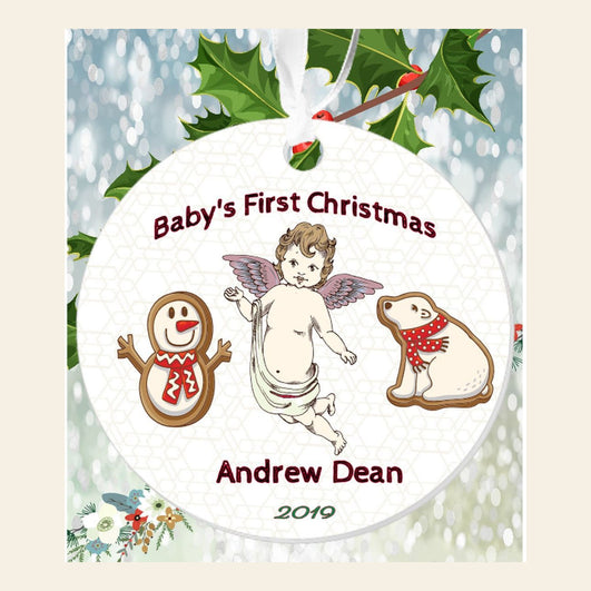 "Personalized Angelic ""Baby's First Christmas"" 3"" Round Acrylic Ornament"
