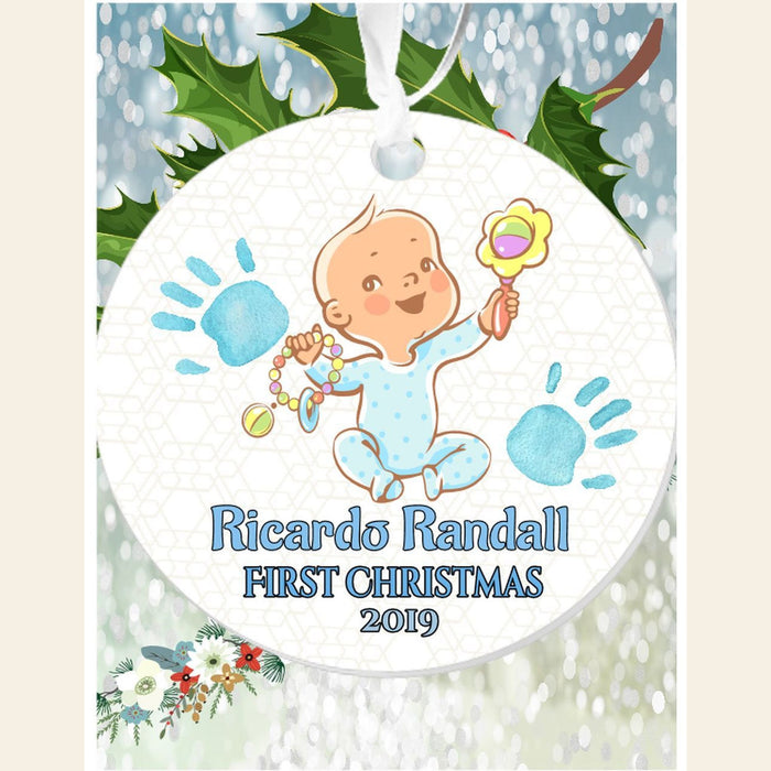 "Personalized "" First Christmas""(Boy) 3"" Round Acrylic Ornament"