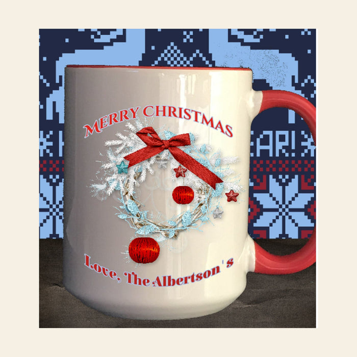 "Personalized ""Merry Christmas"" Wreath Coffee Mug Gifts Personalized"