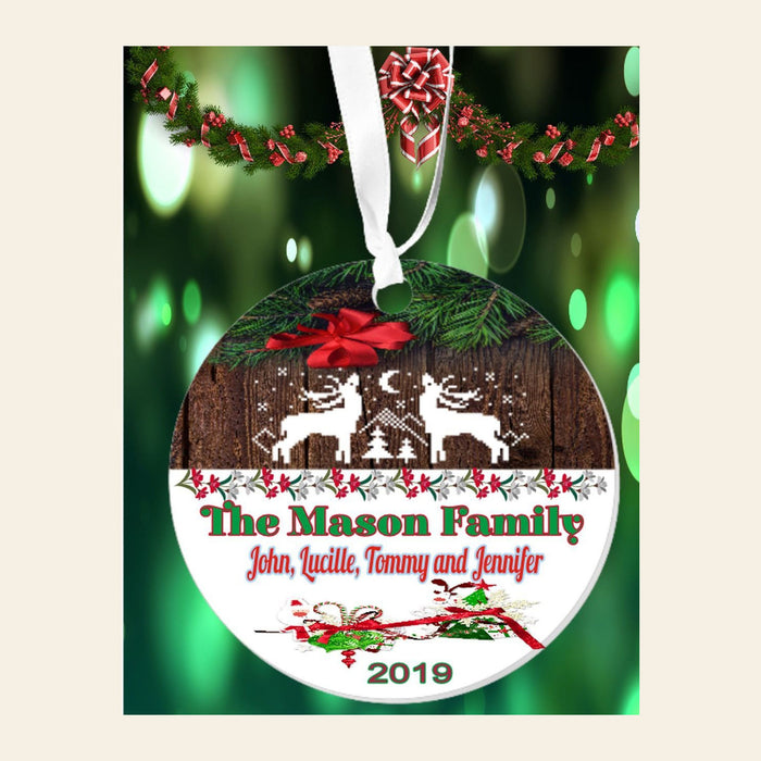 "Personalized ""Family"" Rustic Reindeer 3"" Round Acrylic Ornament"