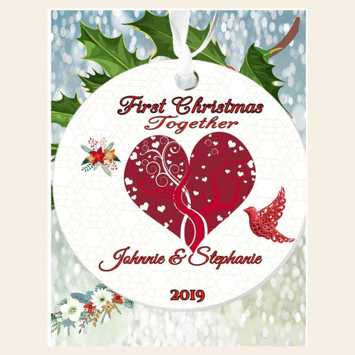 "Personalized  Heart and Dove ""First Christmas Together"" 3"" Round Acrylic Ornament"