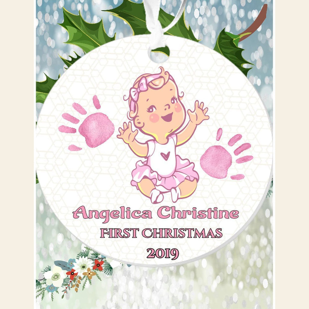 "Personalized "" First Christmas""(Girl) 3"" Round Acrylic Ornament Gifts Personalized"