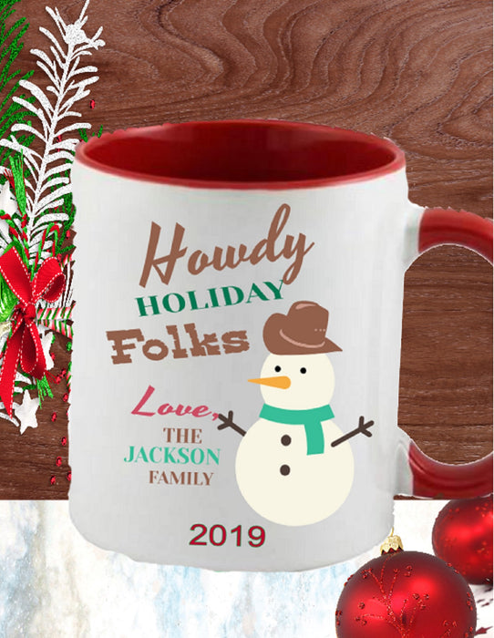"Personalized ""Howdy Holiday Folks"" Western Snowman Mug"