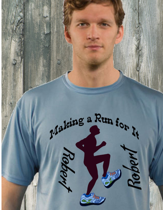 Personalized Making A Run For It Solar Performance Tee -Hydro Blue