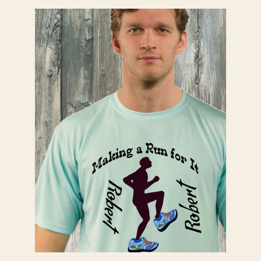 Personalized Making A Run For It Solar Performance Tee - Seagrass