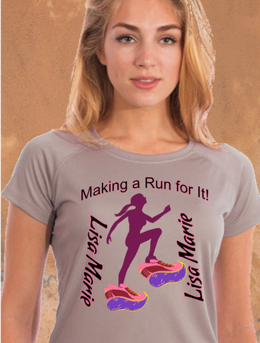 Personalized Making A Run For It Solar Performance Tee-Athletic Gray