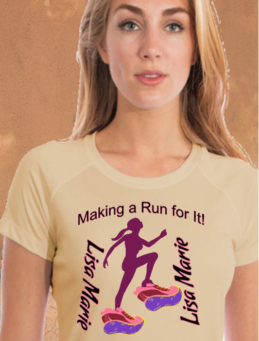 Personalized Making A Run For It Solar Performance Tee-Pale Yellow
