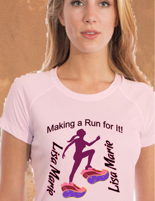 Personalized Making A Run For It Solar Performance Tee-Pink Blossom