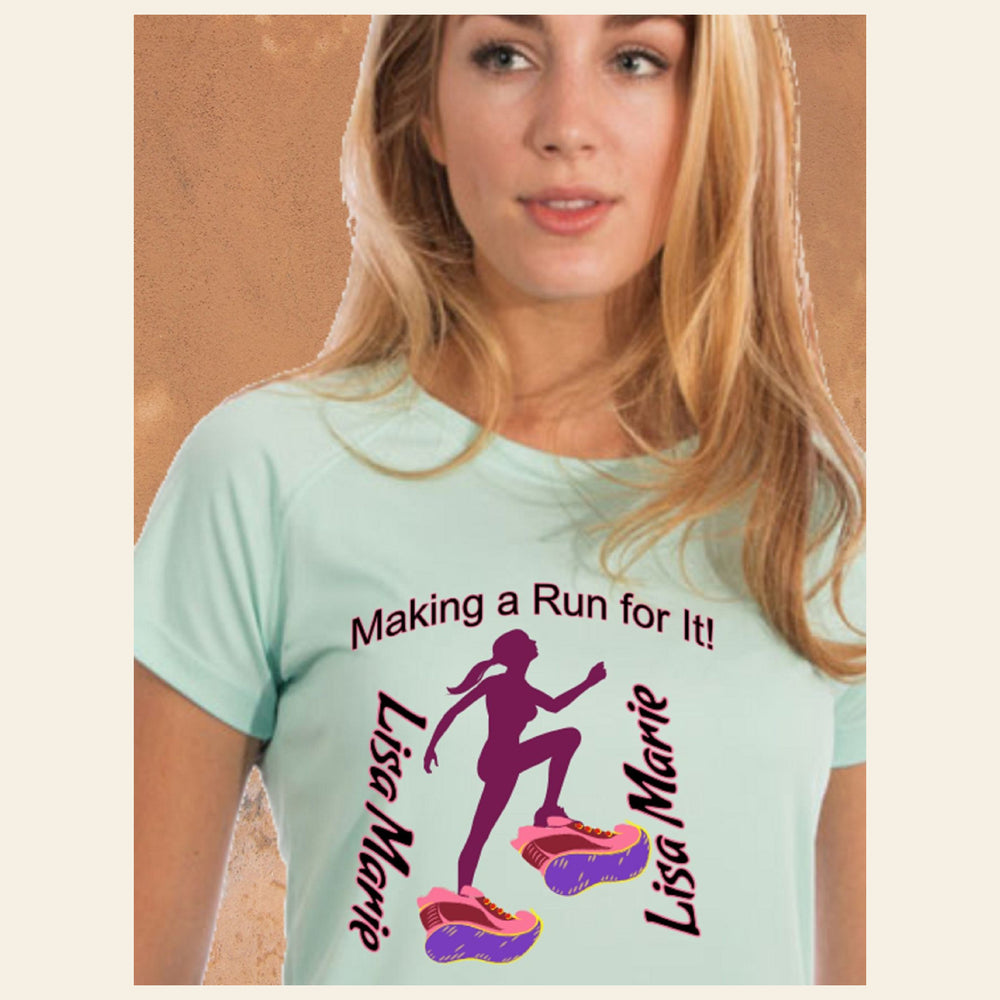 "Personalized ""Making A Run For It"" Solar Performance Short Sleeve Tee for She"