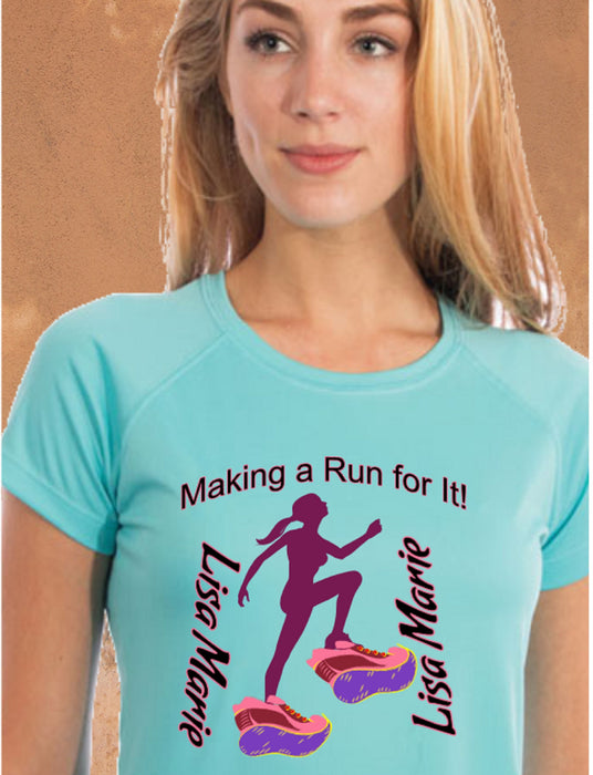 Personalized Making A Run For It Solar Performance Tee-Water Blue