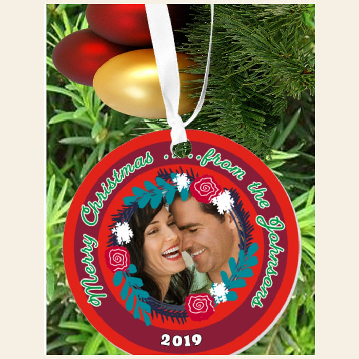 "Personalized Photo ""Merry Christmas"" 3"" Round Acrylic Ornament by Gifts Personalized"