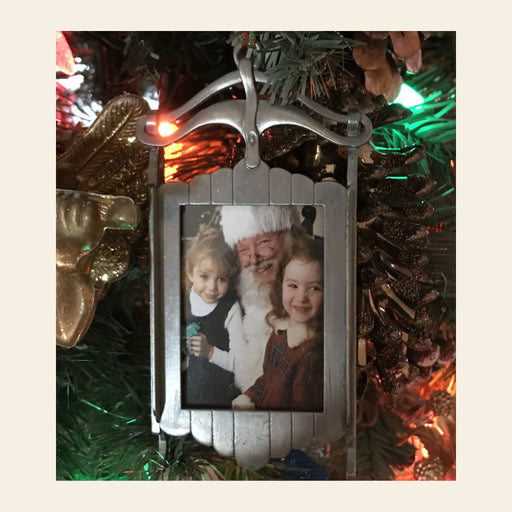 Personalized with Photo Pewter Sleigh Ornament or Mantle Piece