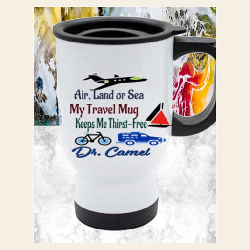 Personalized Travel Mug - Land, Air or Sea