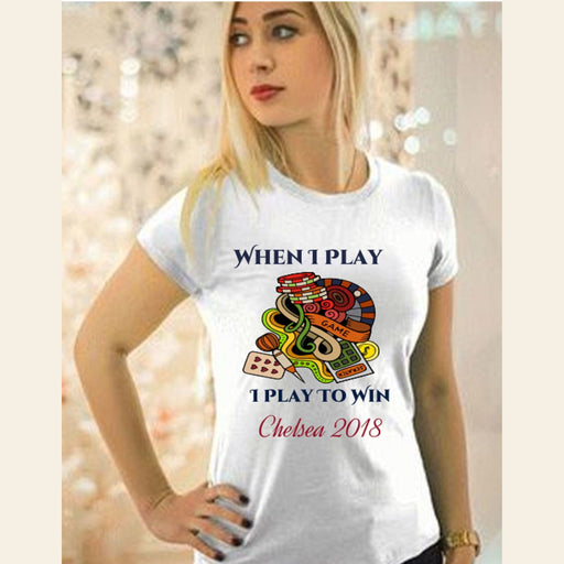"Personalized ""Play To Win"" Classic Ladies Tee for She Gifts Personalized"