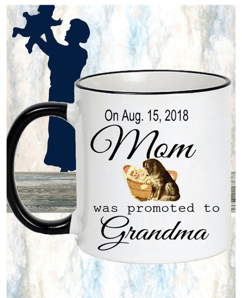 Pregnancy Reveal or Childbirth Announcement Coffee Mug for New Grandma
