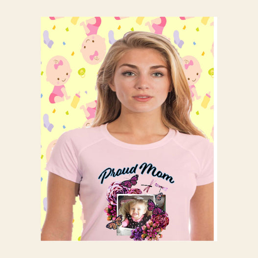 Proud Mom Photo Short Sleeve Shirt -Pink Blossom