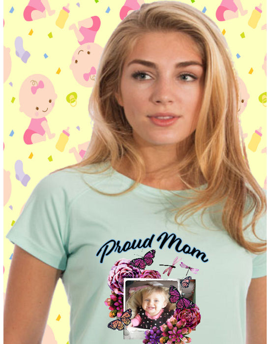 Proud Mom Photo Short Sleeve Shirt -Seagrass