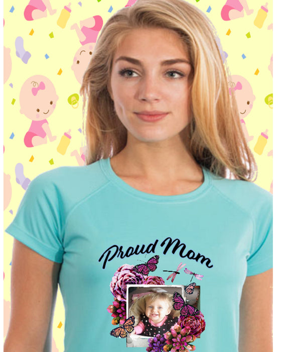 Proud Mom Photo Short Sleeve Shirt -Water Blue