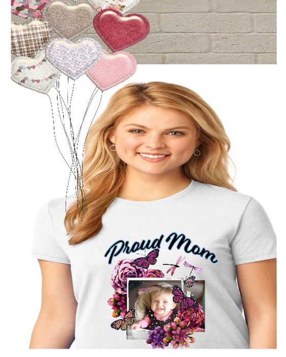 Proud Mom Photo Short Sleeve Shirt -White