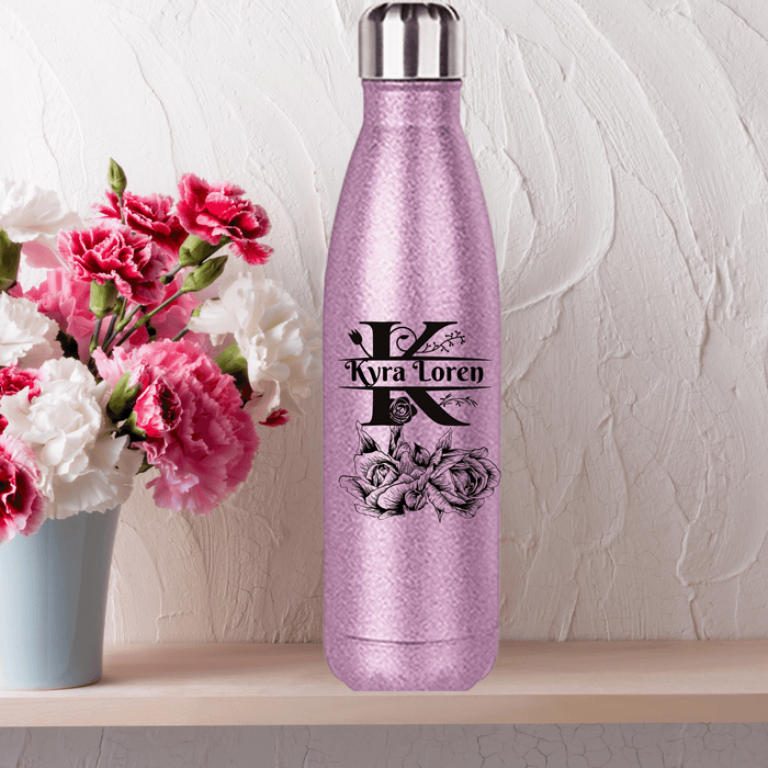 Coke-Shaped Glitter Pink Water Bottle with Monogram