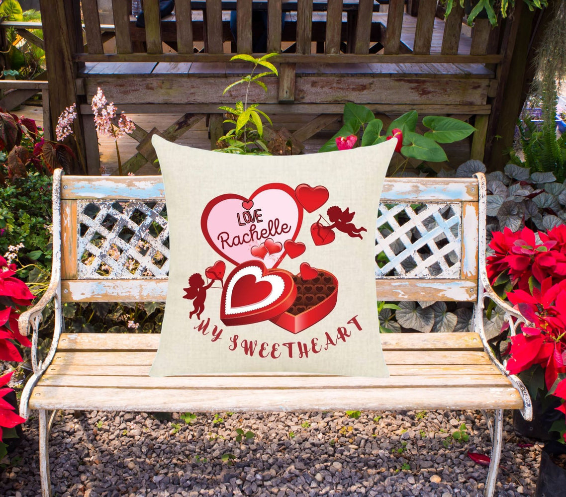 "Personalized ""My Sweetheart"" Cupids and Hearts Throw Pillow"