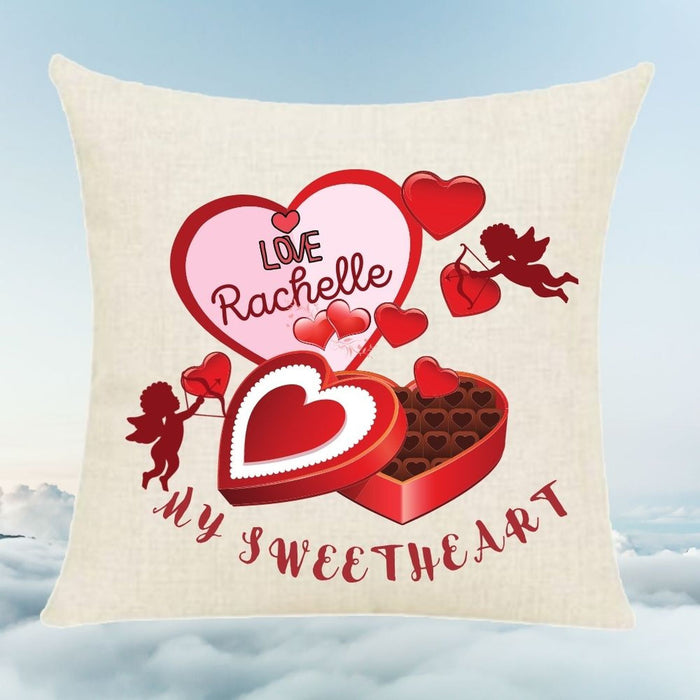 "Personalized Custom ""My Sweetheart"" throw pillow with Box of chocolate candy and Cupids"