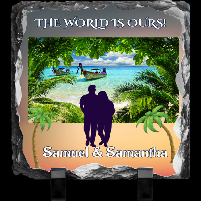 "Personalized ""The World is Ours"" 7.8"" x 7.5"" Photo Slate Tablet"