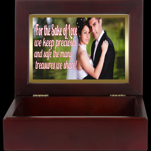 Romantic Personalized Photo Mahogany Keepsake Box