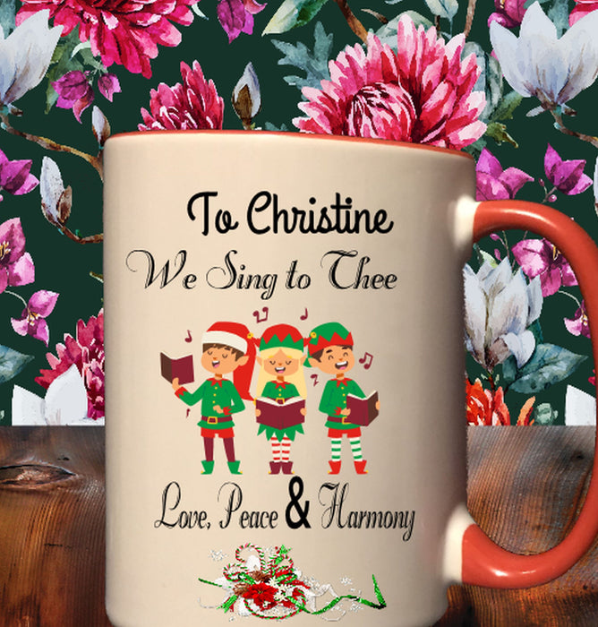 "Personalized ""We Sing To Thee"" Christmas Carolers Mug"