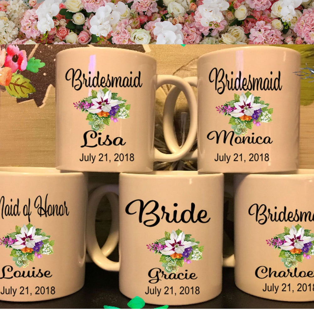 Set of 5 Mugs for Bridal Party