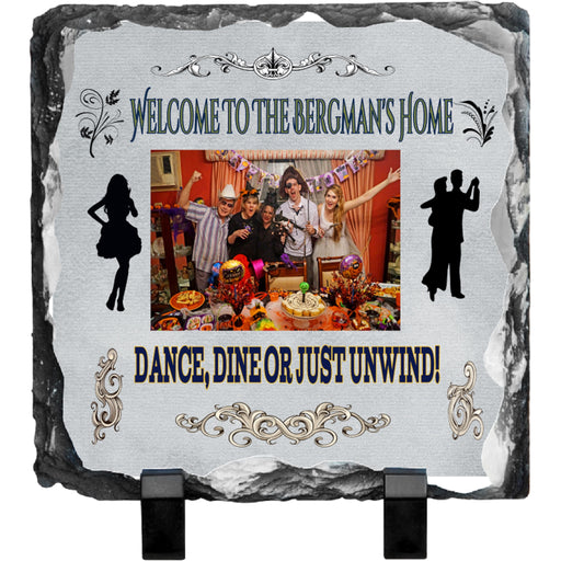 "Personalized ""Welcome"" 7.8 x 7.5"" Photo Slate Plaque"