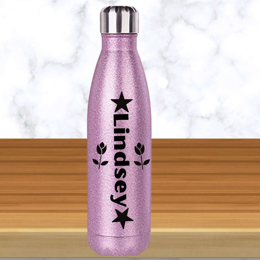 Personalized Stars And Roses Glittered Coke-Shaped Water Bottle