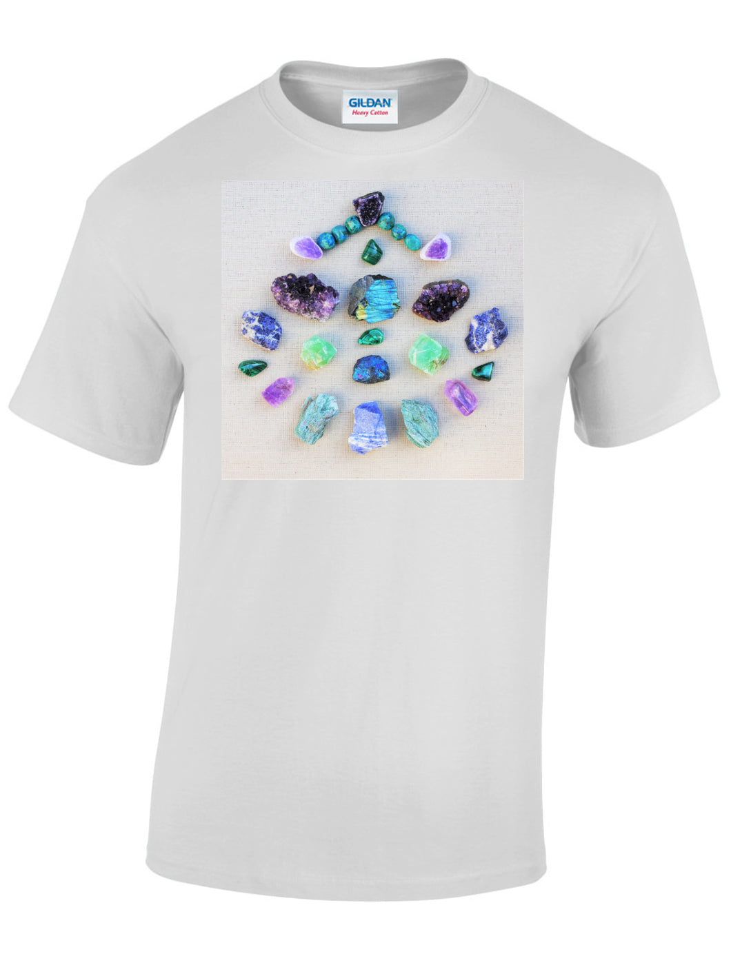 Mens White T-shirt with the photo of our favourite Crystal Grid printed on it