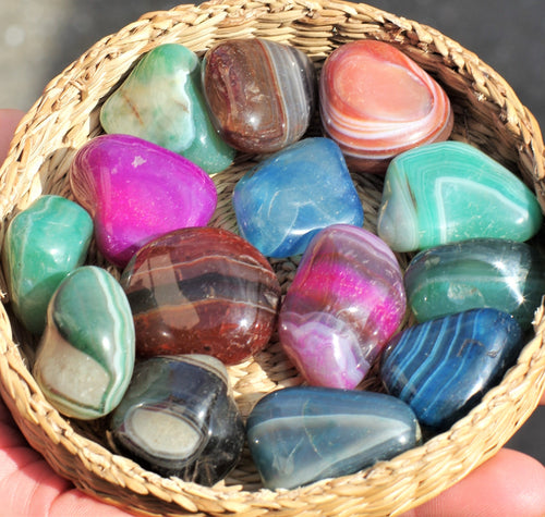 Agate tumble stones healing crystals (dyed)