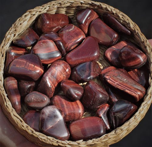 Tiger's Eye Tumbled Stones Red Healing Crystals
