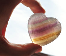 Load image into Gallery viewer, Fluorite polished puffy heart (large) healing crytals