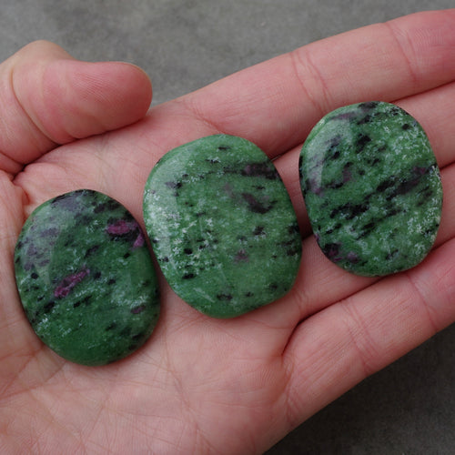 Ruby in Zoisite palmstone healing crystals