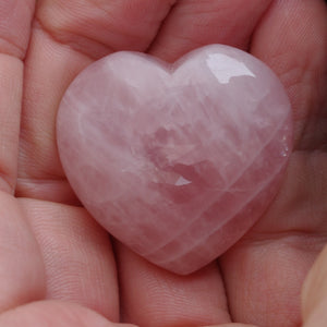 Rose quartz puffy heart healing crystals