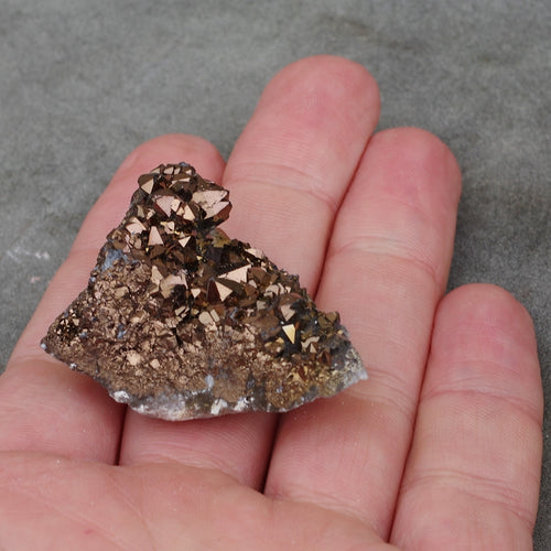 Metallic colour treated healing crystals geodes (brown)