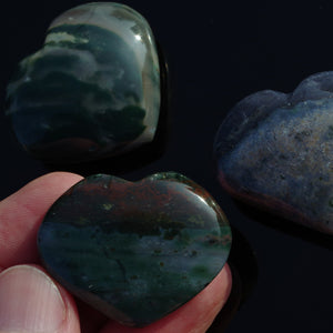Ocean Jasper polished crystal hearts - 3 sizes