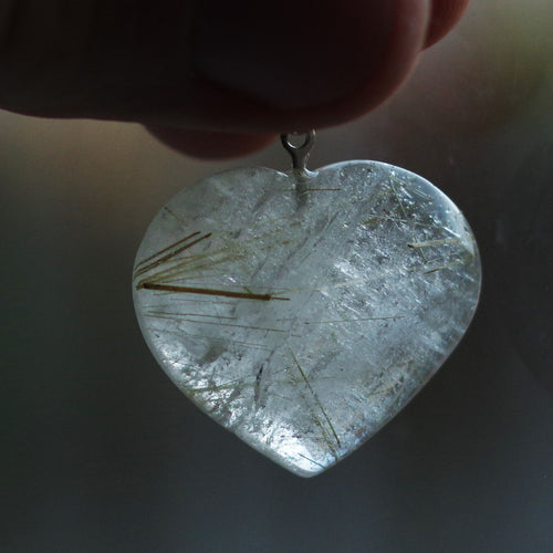 Rutilated quartz heart pendant